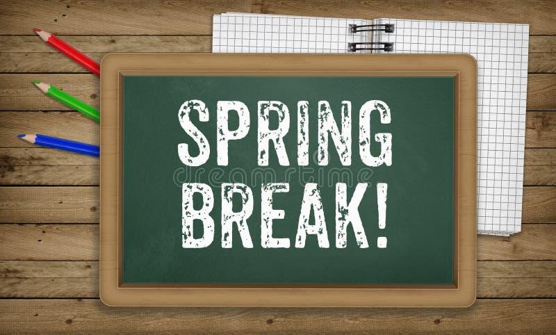 Vacaciones de primavera escritas en tiza en el tablero de tiza libre illustration