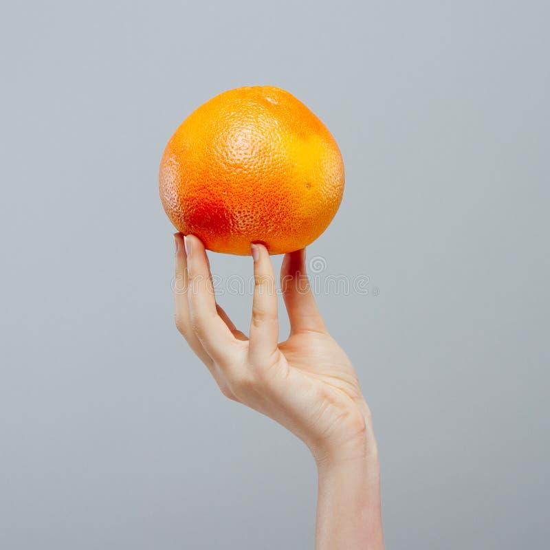 Vacaciones de verano Agrios del pomelo con la paja de beber en mano femenina en gris Alimento y bebida sanos imagenes de archivo