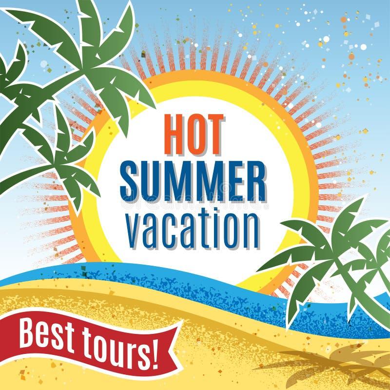 Vacaciones de verano Cartel retro de la plantilla Ilustración del vector ilustración del vector
