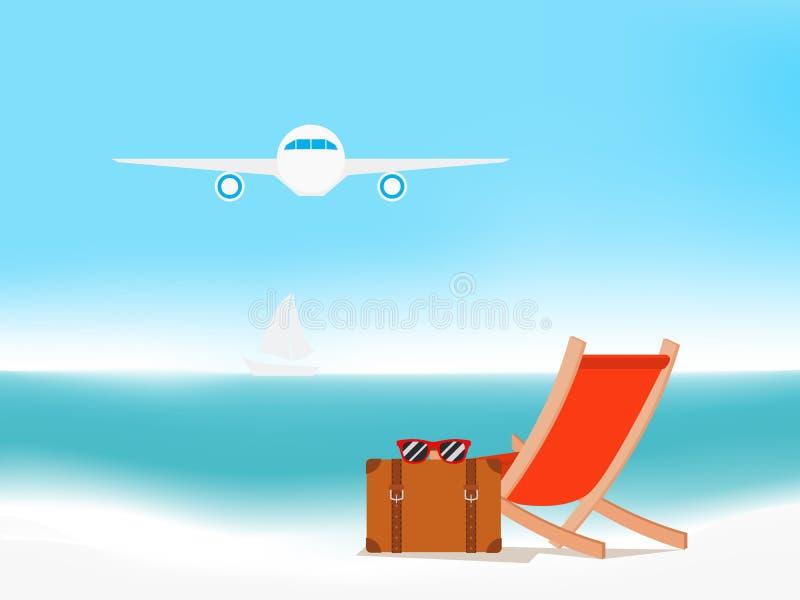 Vacaciones de verano con las sillas de playa Paisaje marino Fondo del concepto de las vacaciones de verano stock de ilustración