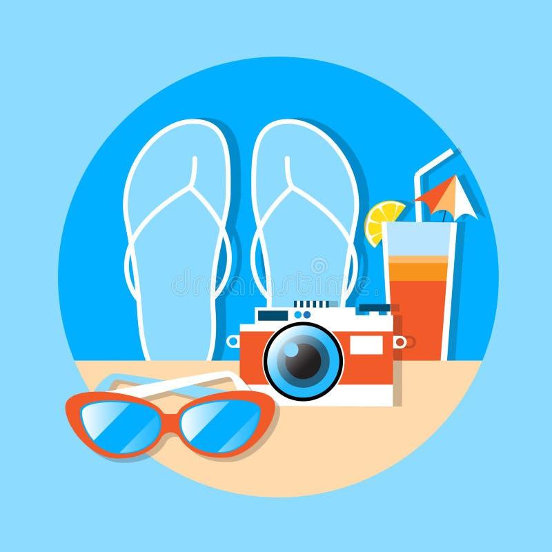 Vacaciones de verano de Flip Flops Camera Cocktail Sunglasses stock de ilustración