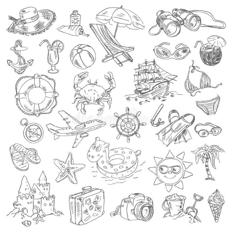 Vacaciones de verano del dibujo a pulso stock de ilustración