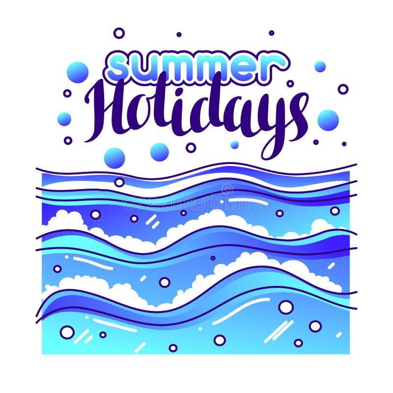 Vacaciones de verano en la playa Ejemplo estilizado de ondas ilustración del vector
