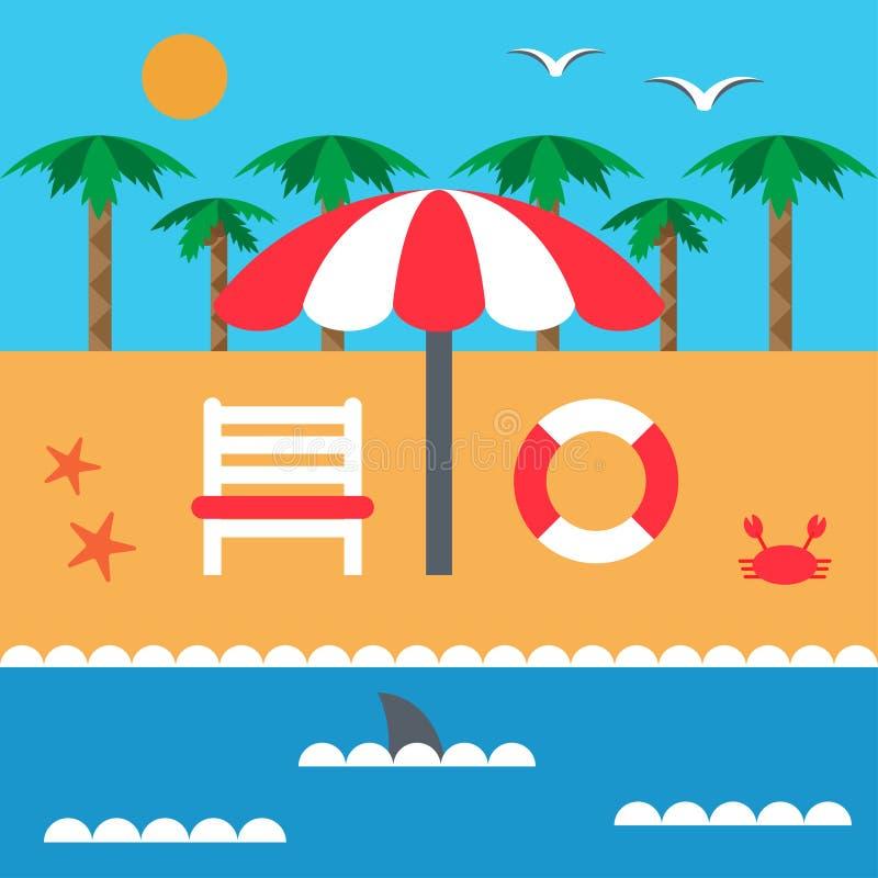 Vacaciones de verano en la playa y el mar Parasol y deckchair Sistema de elementos en estilo plano ilustración del vector