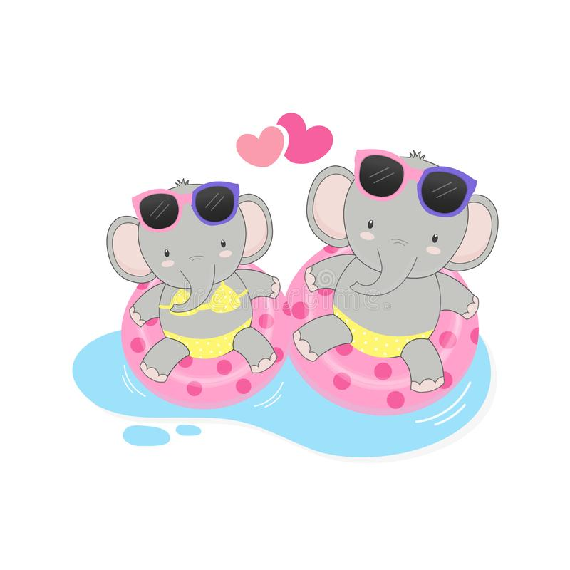 Vacaciones de verano felices Bikini del desgaste del elefante de los pares e historieta lindos del anillo de la nadada stock de ilustración