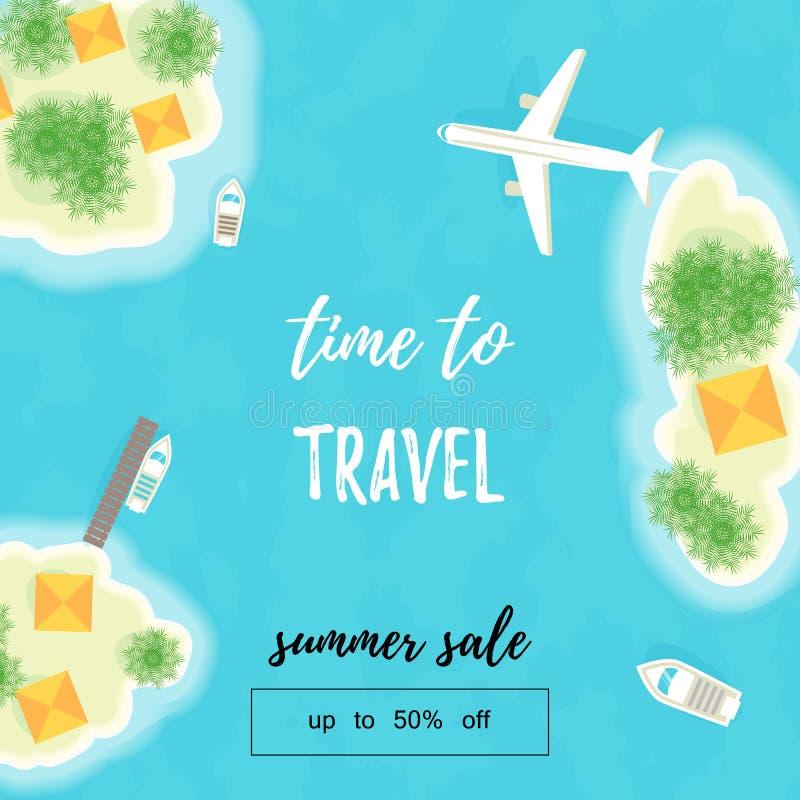 Vacaciones de verano Las islas, las naves y el avión Hora de viajar Venta del verano Hasta 50 apagado ejemplo del vector - vector libre illustration
