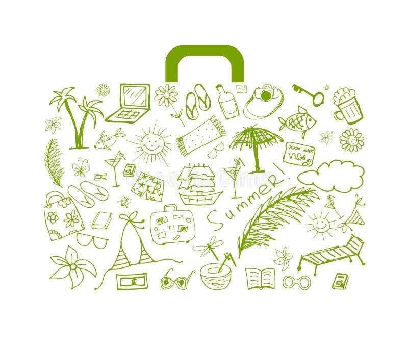Vacaciones de verano, maleta para su diseño stock de ilustración