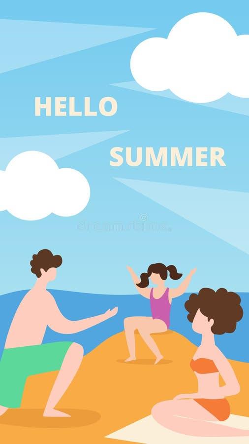Vacaciones de verano planas de la bandera en el mar, hola verano ilustración del vector
