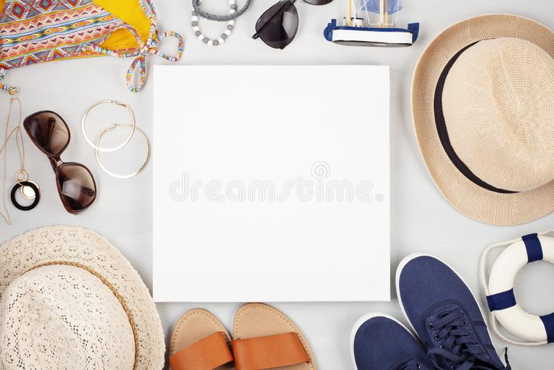 Vacaciones de verano, viaje, endecha plana del concepto del turismo fotos de archivo
