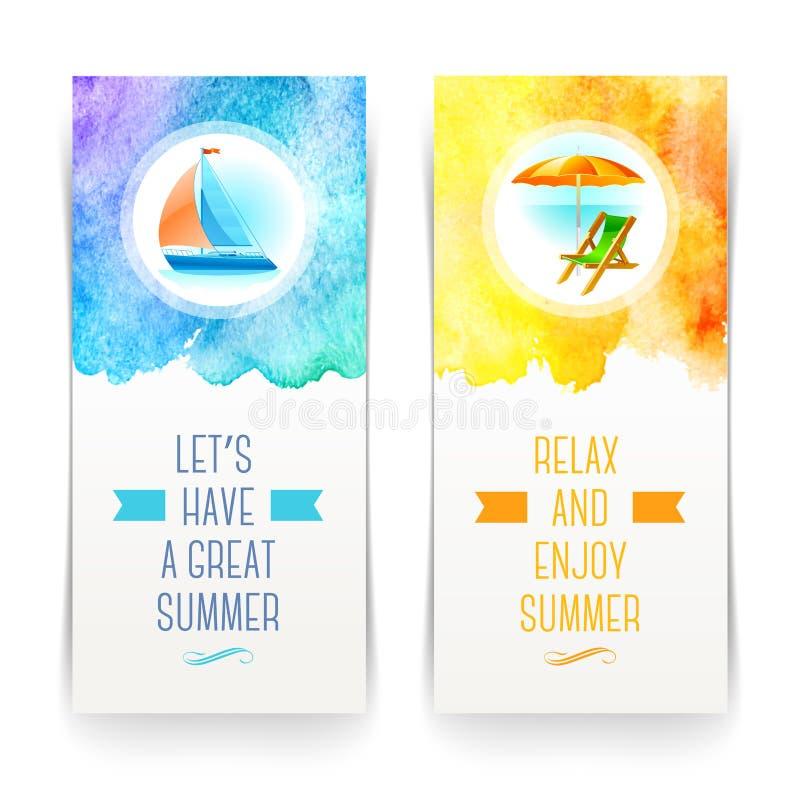 Vacaciones de verano y banderas del viaje libre illustration