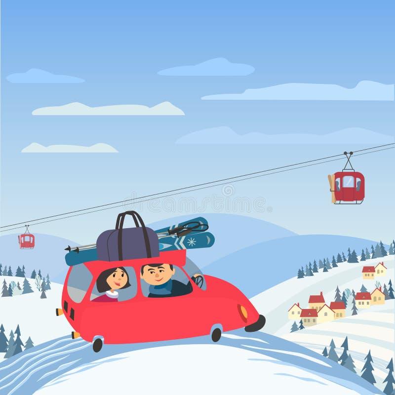 Vacaciones del invierno de la familia libre illustration