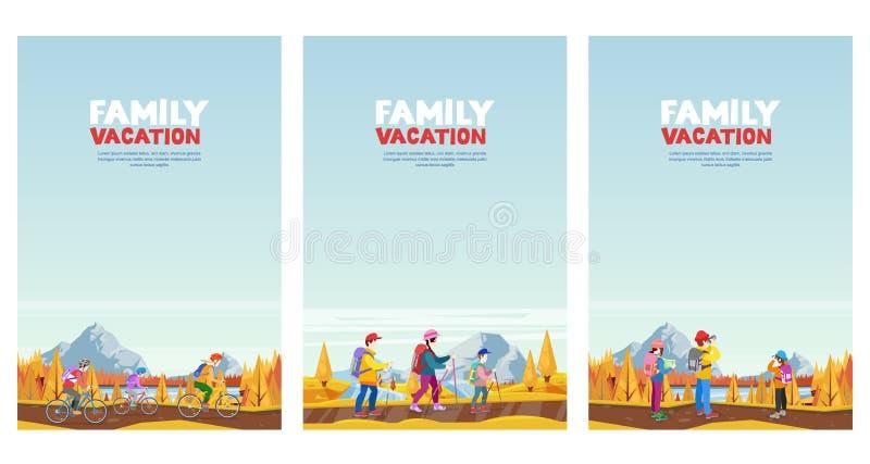 Vacaciones del otoño de la familia El ciclo, caminando y al aire libre se divierte actividad Ejemplos del estilo de la historieta libre illustration