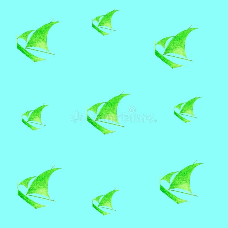 Vacaciones del paseo del mar del poder verde del deporte del velero de la acuarela ilustración del vector