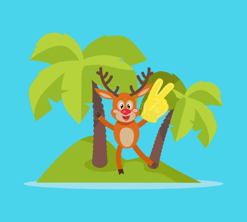 Vacaciones en concepto tropical del vector de la historieta de la isla libre illustration