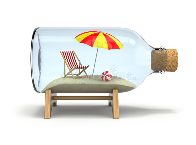 Vacaciones en la botella stock de ilustración