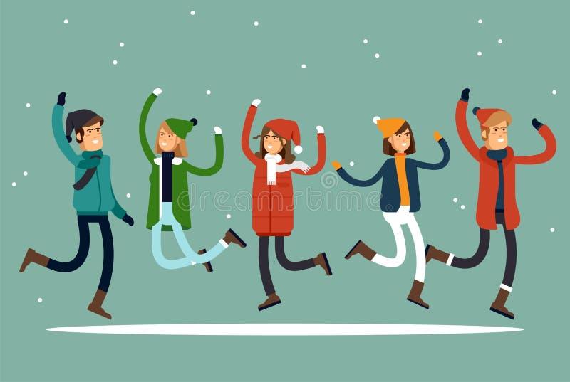Vacaciones felices del invierno Gente con gusto vestida en el salto El concepto de resto activo y de pasatiempo alegre Vector stock de ilustración