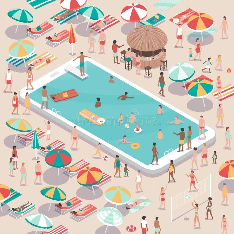 Vacaciones y tecnología ilustración del vector