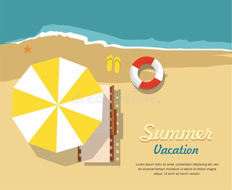 Vacaciones y turismo de verano Salón y paraguas de la calesa en la playa Icono infographic ilustración del vector