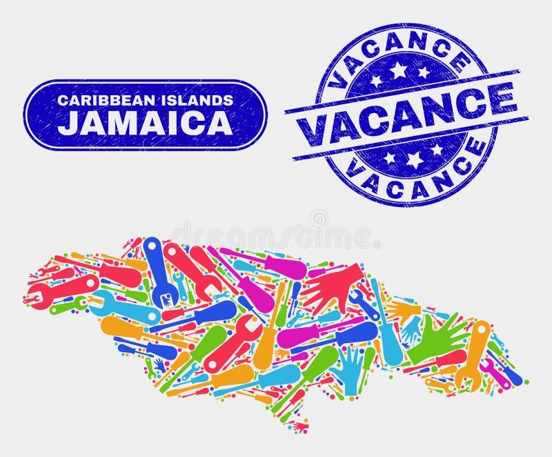 Vacance för för enhetsJamaica översikt och Grunge vattenstämplar royaltyfri illustrationer