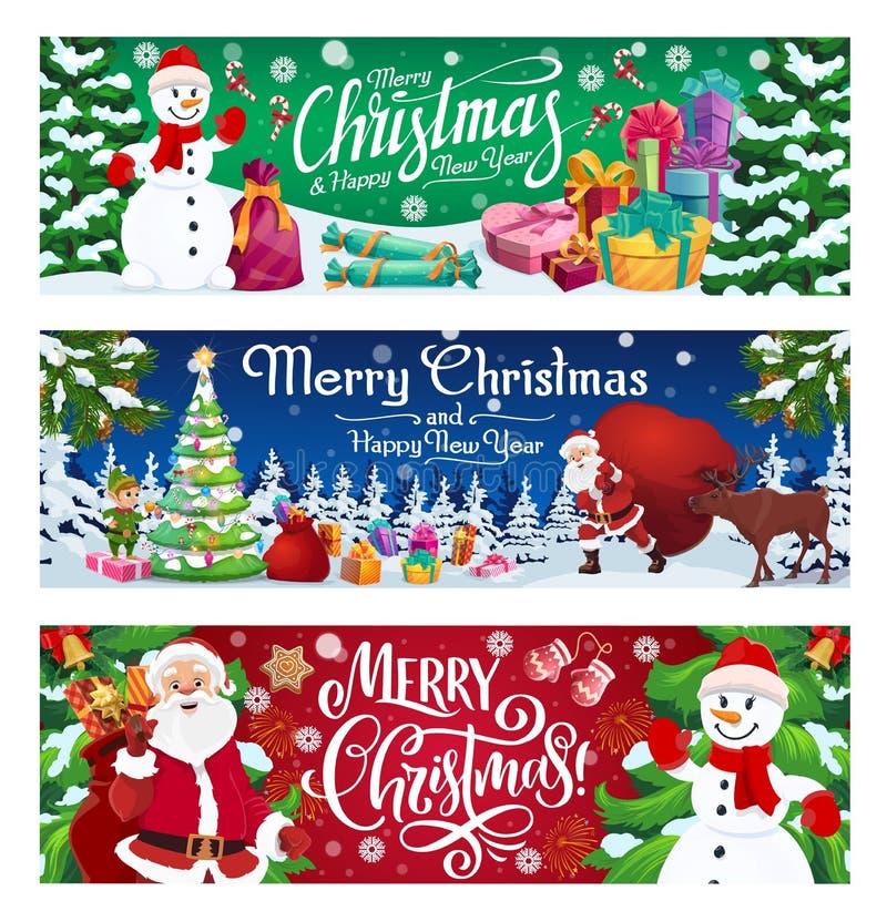 Vacances, bonhomme de neige et Santa d'hiver avec des cadeaux illustration stock