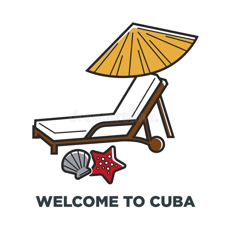 Vacances célèbres de vacances de vecteur de voyage du Cuba illustration de vecteur