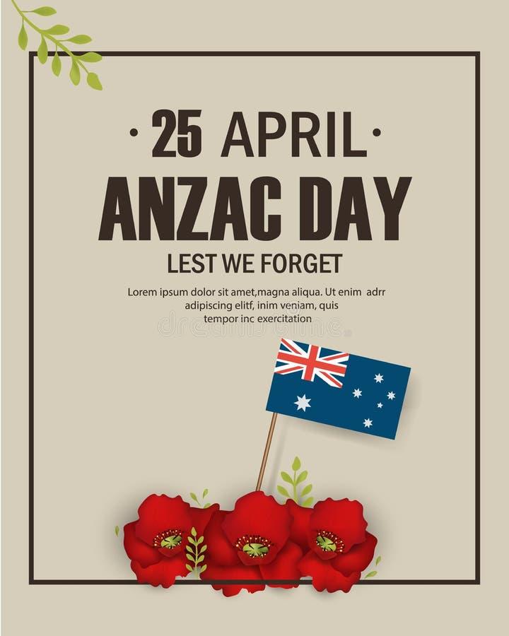 Vacances commémoratives d'anniversaire de pavots d'Anzac Day dans l'Australie, mémoire de combattants du Nouvelle-Zélande Anzac D illustration stock