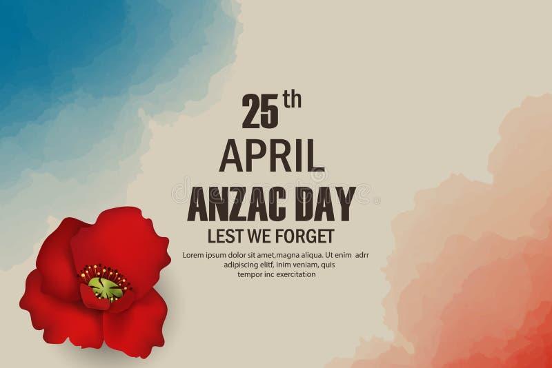 Vacances commémoratives d'anniversaire de pavots d'Anzac Day dans l'Australie, mémoire de combattants du Nouvelle-Zélande Guerre  illustration stock
