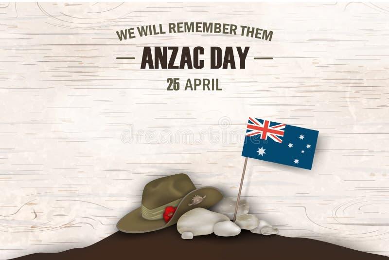 Vacances commémoratives d'anniversaire de pavots d'Anzac Day Nous nous rappellerons les Affiche de jour de souvenir de guerre d'A illustration de vecteur