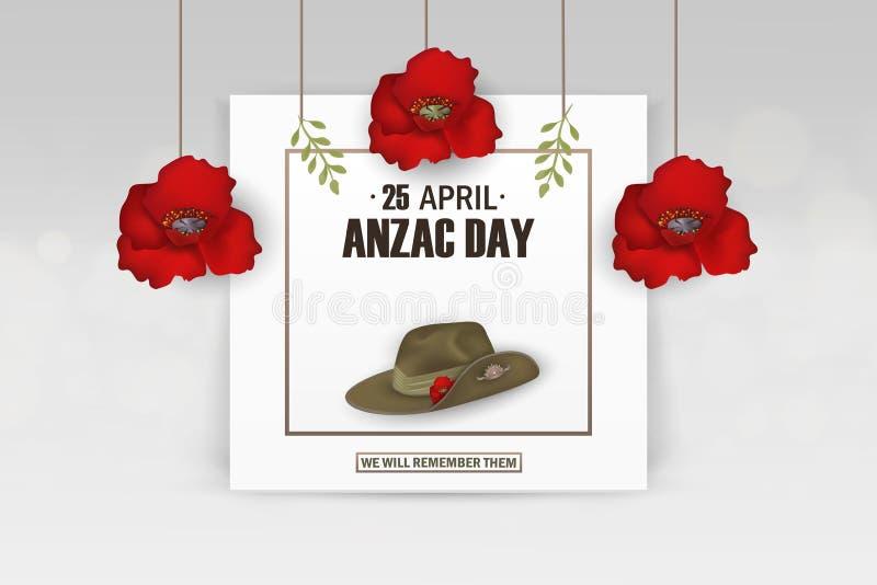Vacances commémoratives d'anniversaire de pavots d'Anzac Day Nous nous rappellerons les Jour de souvenir de guerre d'Anzac Day 25 illustration libre de droits