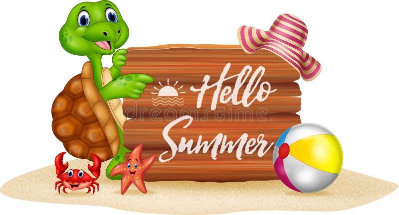 Vacances d'été avec la tortue de bande dessinée et le signe en bois illustration stock