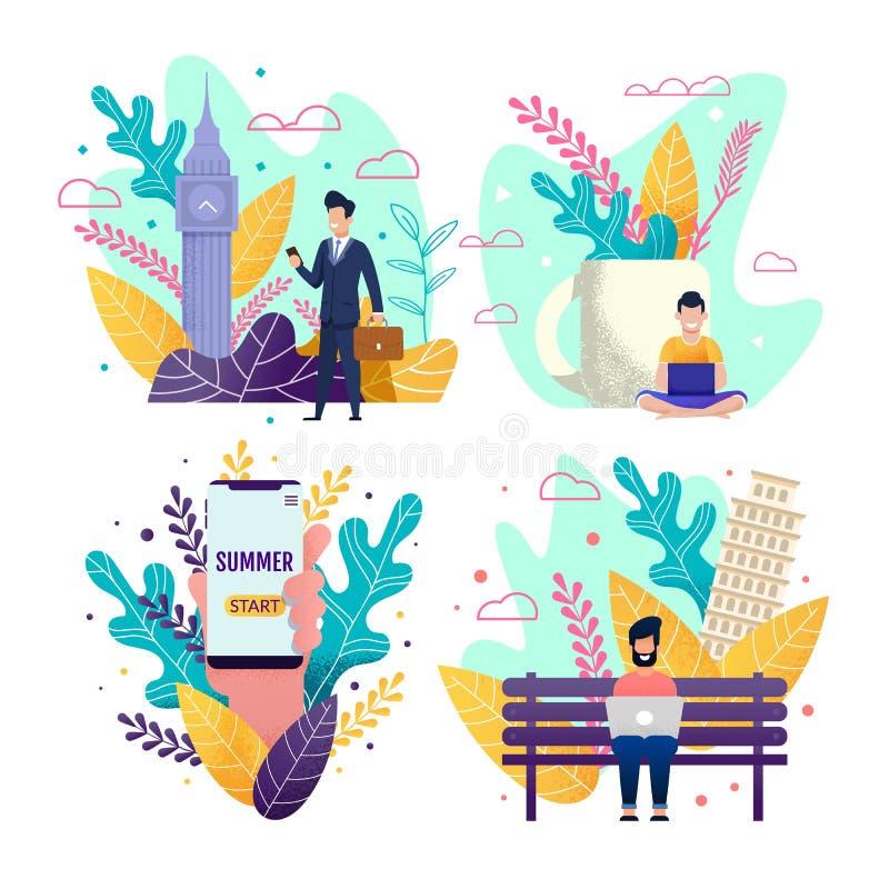 Vacances d'été de début et choisir l'ensemble indépendant illustration de vecteur