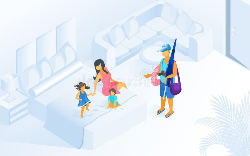 Vacances d'été de famille sur le vecteur isométrique de station de vacances illustration de vecteur
