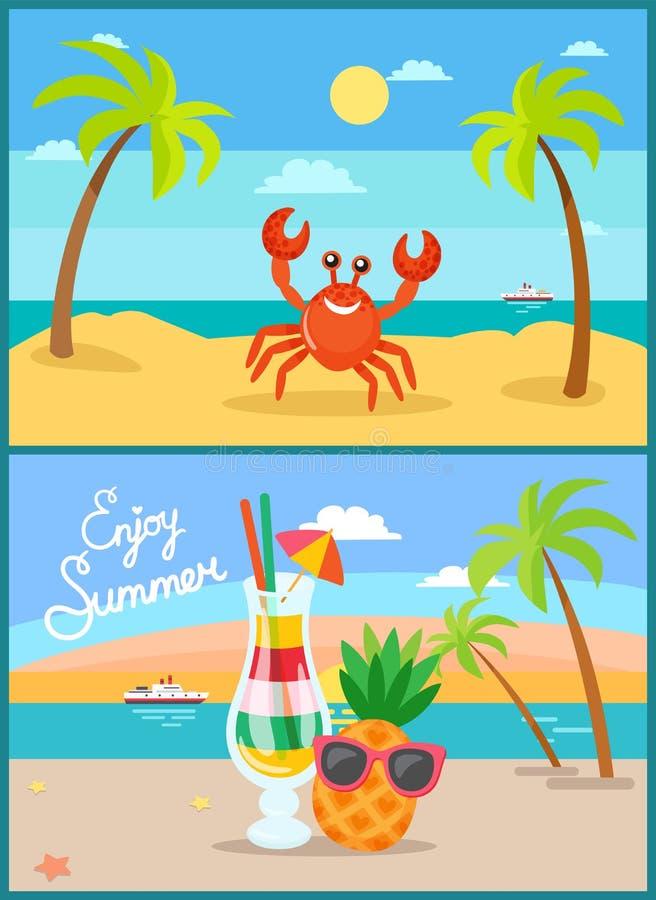 Vacances d'été de plage ou vacances, rivage de bord de la mer illustration de vecteur