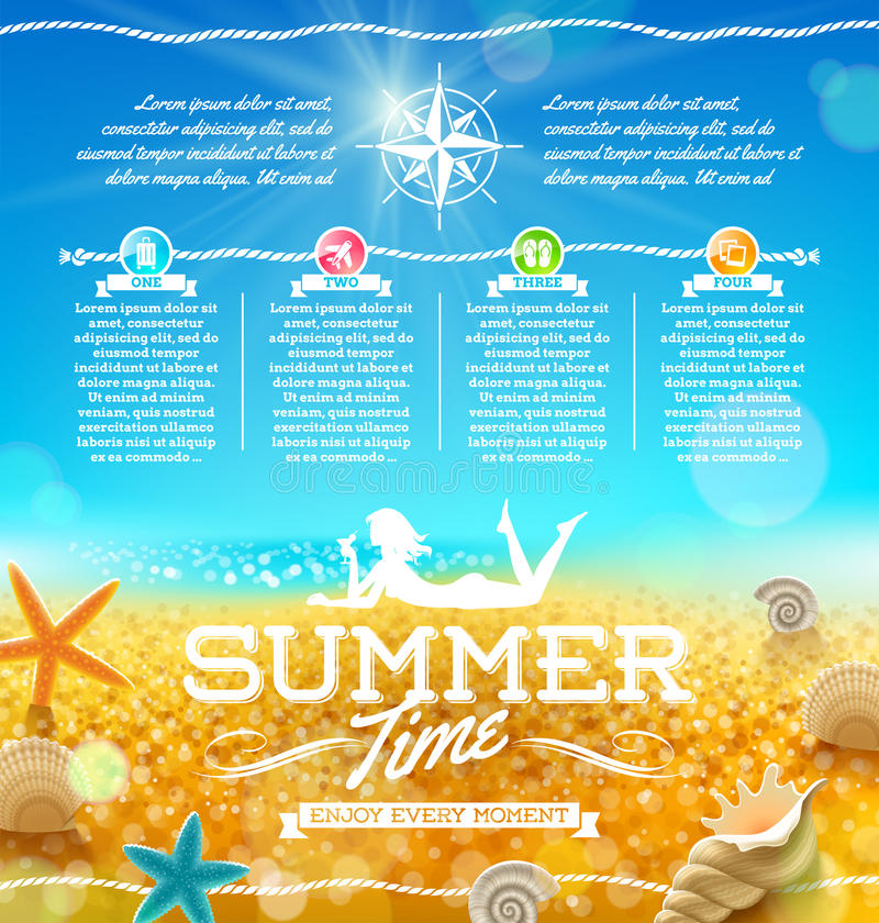 Vacances d'été et conception de voyage illustration libre de droits