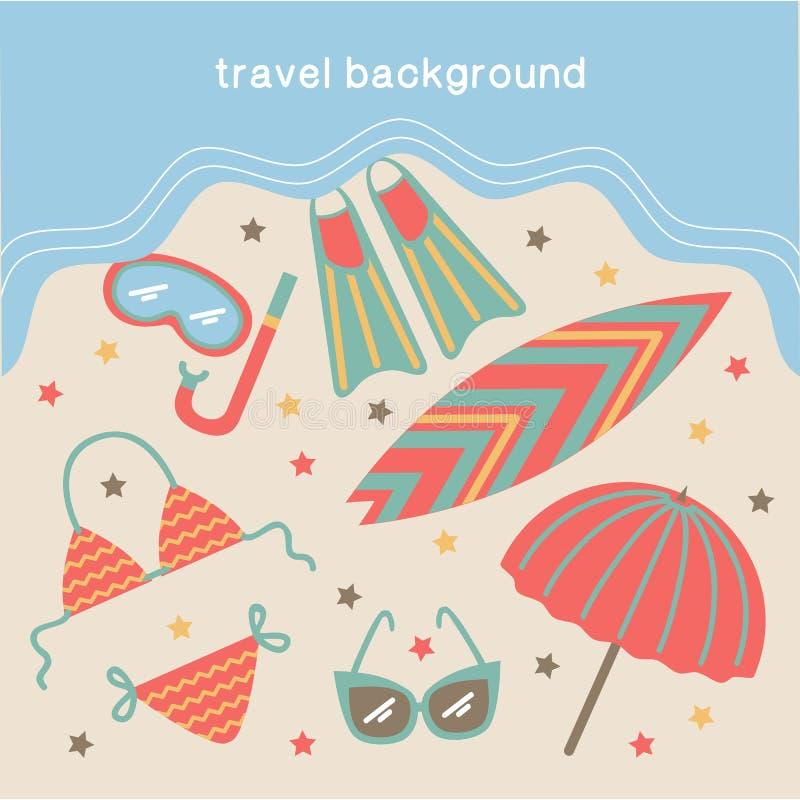 Vacances d'été et fond de déplacement illustration de vecteur