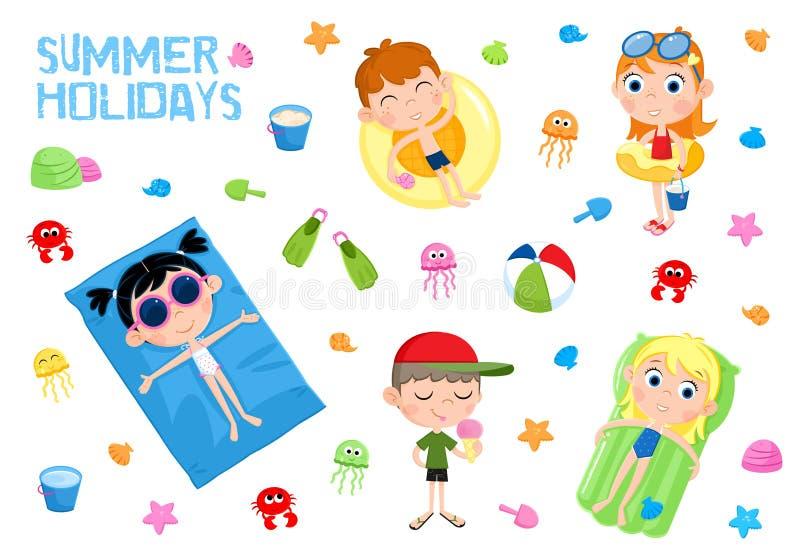 Vacances d'été - illustration adorable - enfants et plage illustration stock