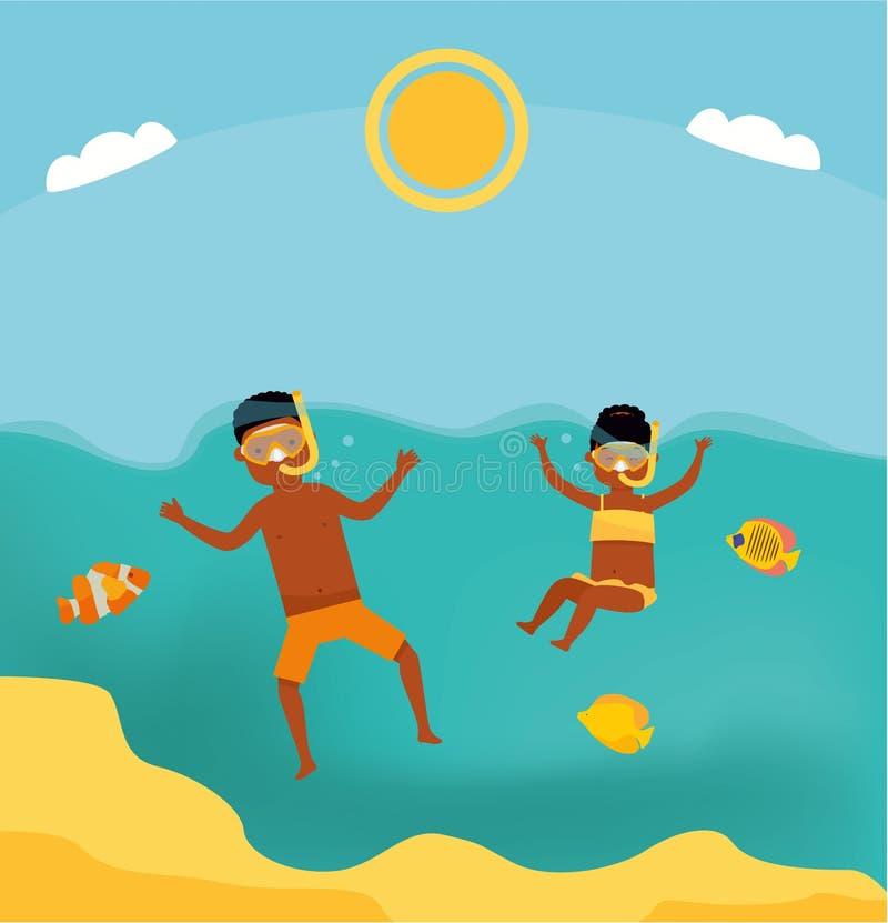 Vacances d'été Natation de famille en mer Le frère et la soeur plongent dans la mer Visite de mer Mère et enfant Défectuosité pla illustration libre de droits