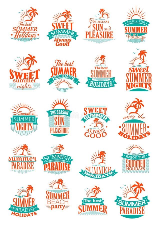 Vacances d'été ou icônes de vecteur de voyage de vacances illustration de vecteur