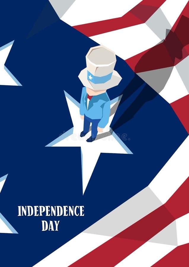 Vacances d'Américain de Jour de la Déclaration d'Indépendance d'oncle Sam United States Flag Happy illustration libre de droits