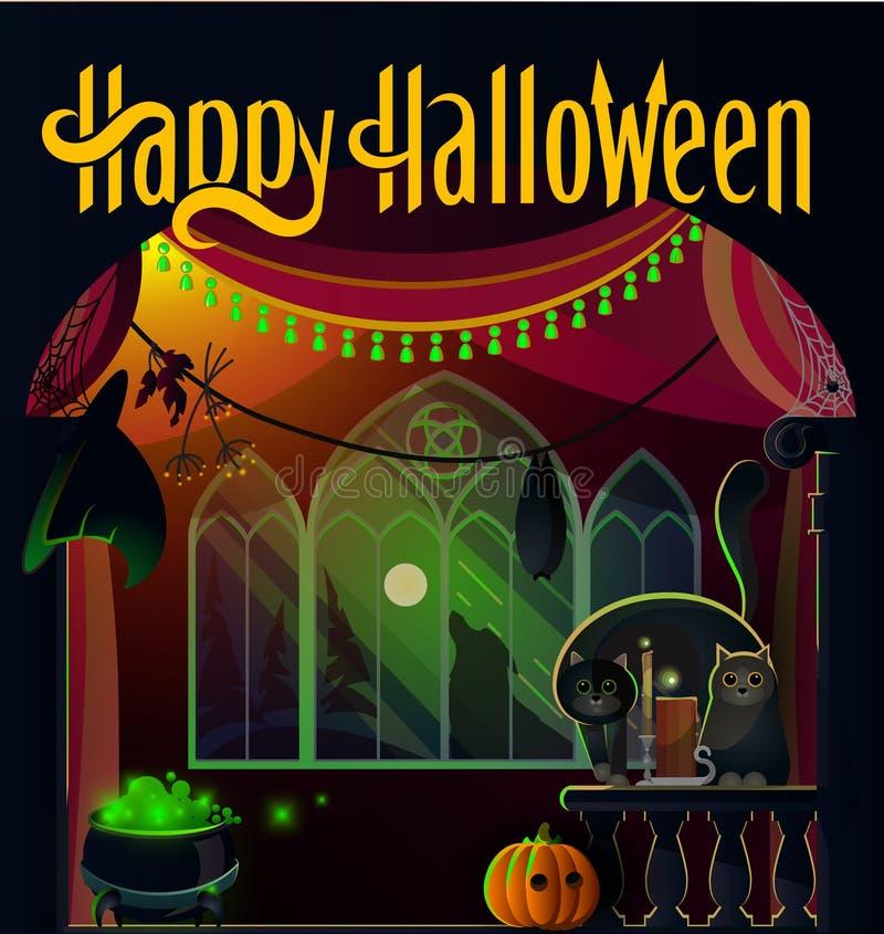 Vacances d'Halloween dans le vieux château illustration libre de droits