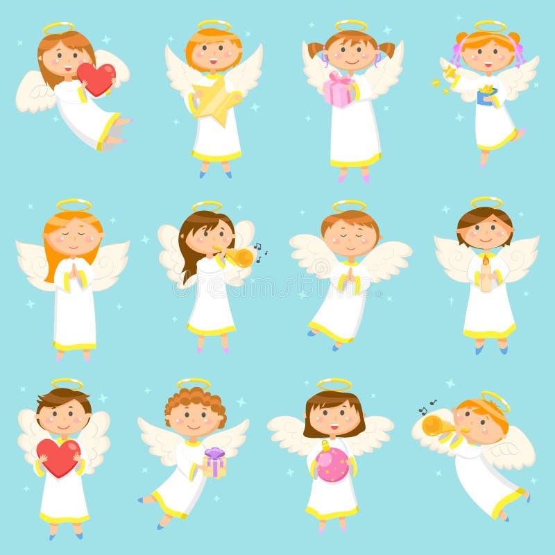 Vacances d'hiver d'Angel Children, de garçons et de filles illustration de vecteur