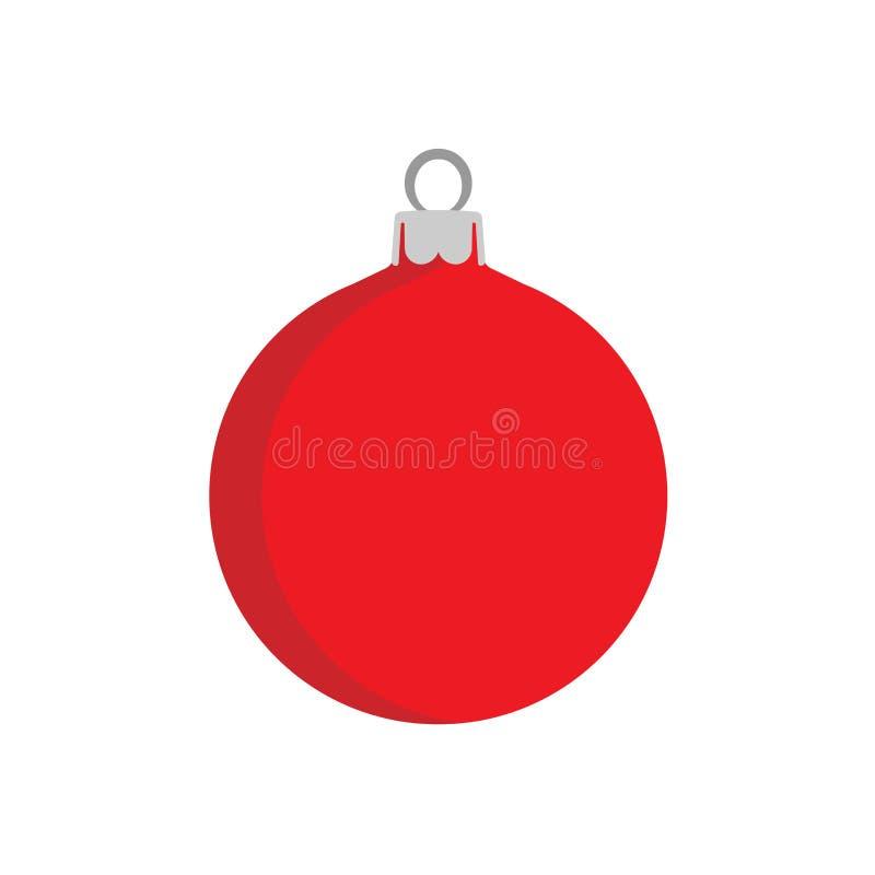Vacances d'illustration de décoration de fond de vecteur de boule de Noël Icône rouge d'élément de nouvelle année de symbole de c illustration libre de droits