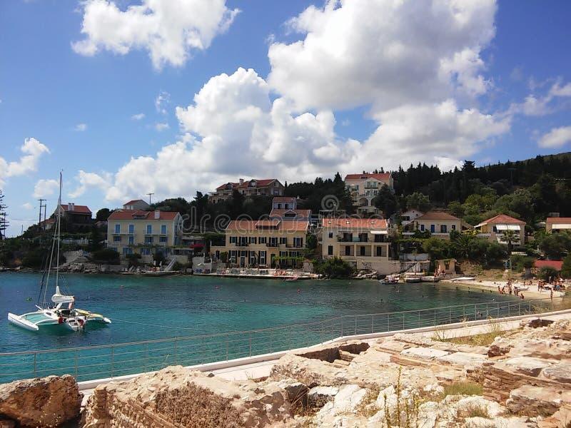 Vacances dans Fiscardo sur l'île de Kefalonia image stock