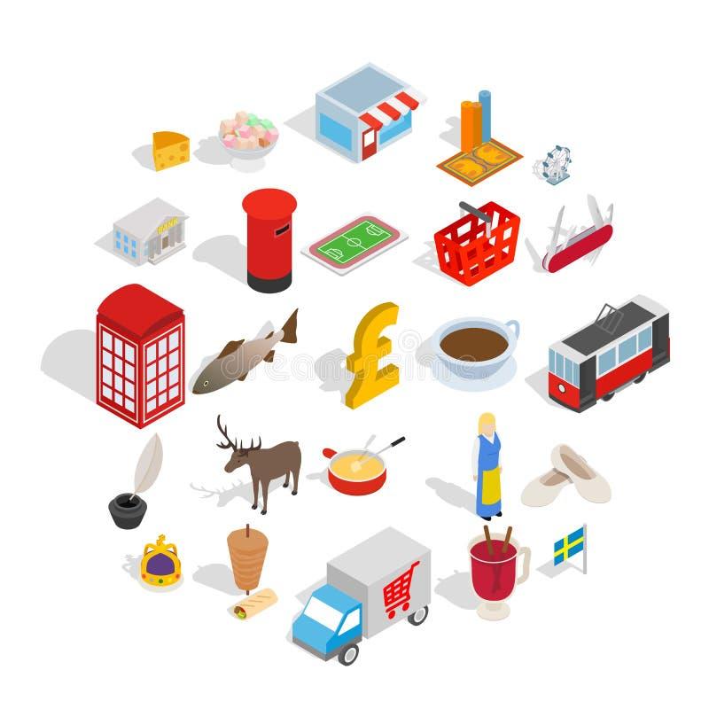 Vacances dans l'ensemble d'icônes de l'Europe, style isométrique illustration stock