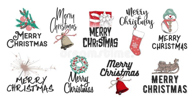 Vacances de croquis de Noël tiré par la main d'ensemble et de nouvelle année sur le fond blanc Dessin détaillé gravure à l'eau-fo illustration stock