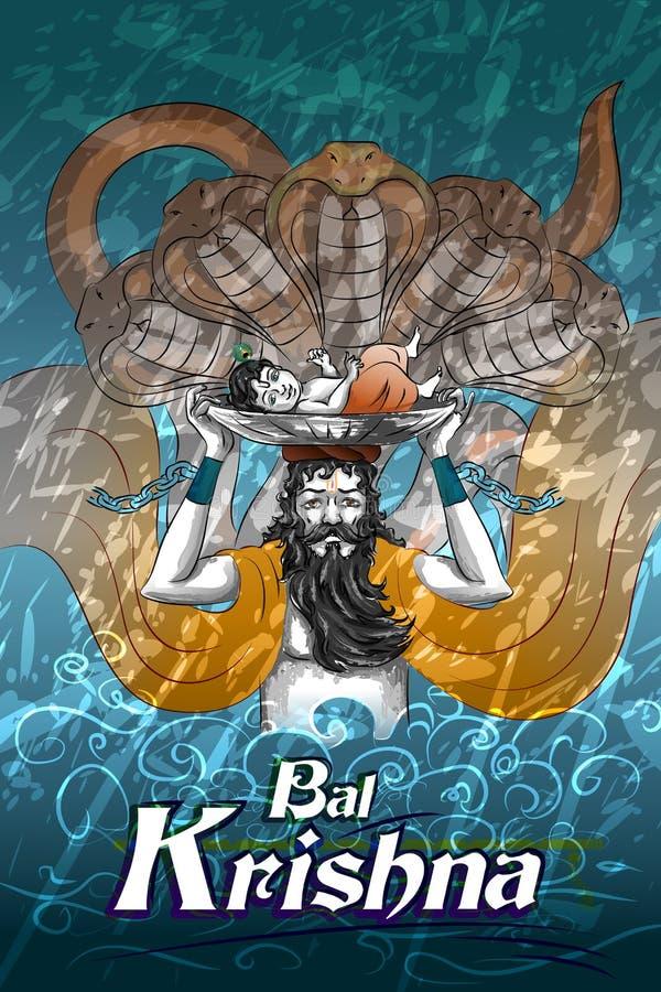 Vacances de festival de Lord Krishna Indian God Janmashtami illustration de vecteur