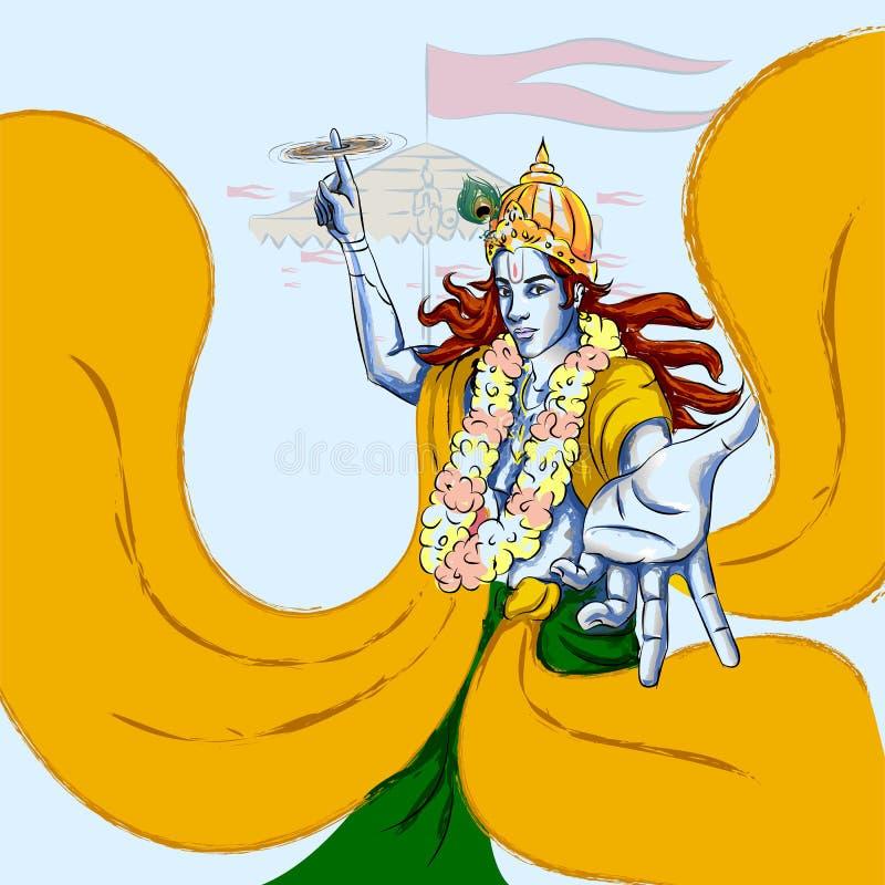 Vacances de festival de Lord Krishna Indian God Janmashtami illustration stock