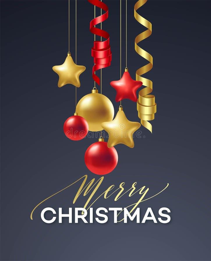 Vacances de Joyeux Noël d'affiche Lettrage de la meilleure qualité de calligraphie avec la décoration d'ornement d'or de la boule illustration stock