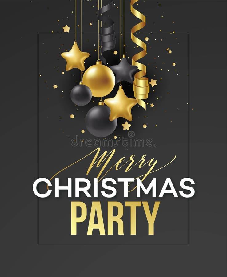 Vacances de Joyeux Noël d'affiche Lettrage de la meilleure qualité de calligraphie avec la décoration d'ornement d'or de la boule illustration libre de droits