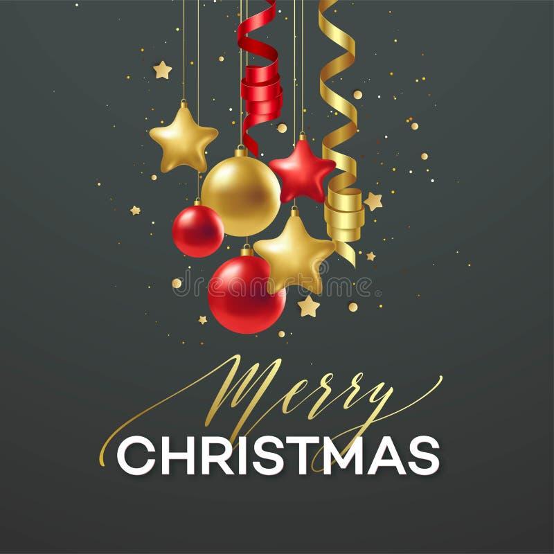 Vacances de Joyeux Noël d'affiche Lettrage de la meilleure qualité de calligraphie avec la décoration d'ornement d'or de la boule illustration de vecteur